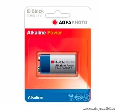 AgfaPhoto AF 6LR61 Tartós 9V-os elem, E, 6LR61, Alkaline