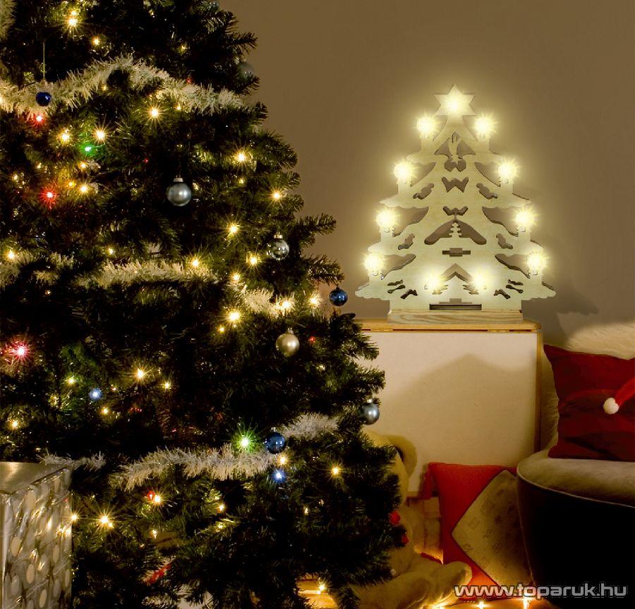 HOME KAD 22 Karácsonyfa formájú gyertyaív, faragott fa, fehér - készlethiány