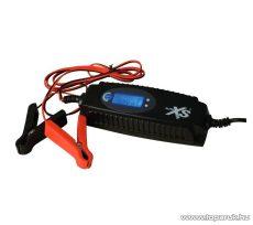 Auto XS LCD kijelzős akkumulátor töltő (akkutöltő) autó és motor akkumulátorokhoz, 0,8 A (6V), 3,8 A (12V)