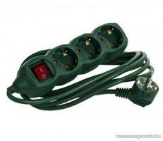 Steck SE 315K/Z Kapcsolós 3-as hálózati elosztó, 1,5 m kábel, zöld (11031509)