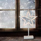 Design Dekor KDE 104 Beltéri elemes CSILLAG ABLAKDÍSZ, 20 db meleg fehér fényű leddel, 39 cm