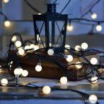 Design Dekor KDG 121 Kültéri design 120 LED-es GYÖNGY FÉNYFÜZÉR, 9,6 m hosszú, zöld színű kábellel, meleg fehér világítással