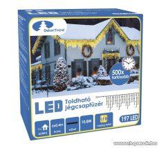 Design Dekor KDK 006 Kültéri toldható kontakt LED jégcsapfüzér, 600 x 40 cm, 197 db melegfehér LED-del