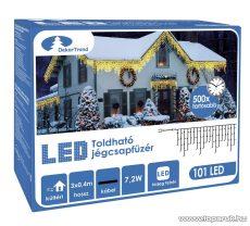 Design Dekor KDK 007 Kültéri toldható kontakt LED jégcsapfüzér, 300 x 40 cm, 101 db hidegfehér LED-del
