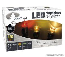 Design Dekor KDM 121 Kültéri 120 LED-es NAPSZÍNES fényfüzér, 9,6 m hosszú, zöld színű kábellel, színes (multi) világítással