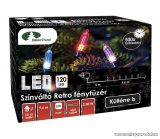 Design Dekor KDP 126 Kültéri 120 LED-es színváltós RETRO fényfüzér, 9,6 m hosszú, zöld színű kábellel, színes (multi) világítással