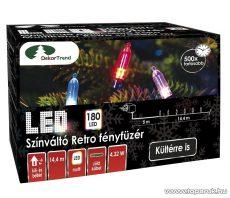 Design Dekor KDP 186 Kültéri 180 LED-es színváltós RETRO fényfüzér, 14,4 m hosszú, zöld színű kábellel, színes (multi) világítással