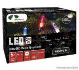 Design Dekor KDP 246 Kültéri 240 LED-es színváltós RETRO fényfüzér, 19,2 m hosszú, zöld színű kábellel, színes (multi) világítással