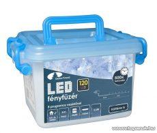 Design Dekor KDVF 125 Kültéri vezérlős LED-es fényfüzér, 8 program, 6 m, fehér kábellel, 120 db színes (sokszínű) LED-del