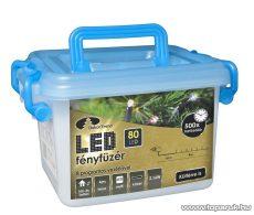 Design Dekor KDV 085 Kültéri vezérlős LED-es fényfüzér, 8 program, 4 m, fekete kábellel, 80 db színes (többszínű) LED-del