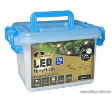 Design Dekor KDV 173 Kültéri vezérlős LED-es fényfüzér, 8 program, 9 m, fekete kábellel, 176 hideg kék LED-del