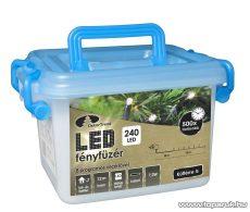 Design Dekor KDV 242 Kültéri vezérlős LED-es fényfüzér, 8 program, 12 m, fekete kábellel, 240 db hidegfehér LED-del