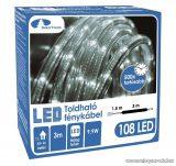 Design Dekor KNT 031 Kültéri toldható 108 LED-es fénykábel, 3 méter hosszú, hideg fehér színű