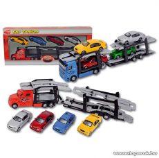 Dickie DDC Autó trailer, autószállító kamion négy kisautóval, piros (203415863) - Megszűnt termék: 2015. November