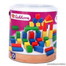 Eichhorn 100 darabos fakocka játékszett, fa építőkocka vödörben (100002000)