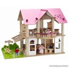 Eichhorn Kétszintes fa babavilla, babaház bútorokkal és babákkal (100002513)