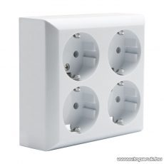 Falon kívüli beltéri 4-es dugalj földelt, fehér, 230V, 50Hz, 16A (05913)