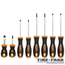 Handy TIRE TRAK gumírozott nyelű csavarhúzó és marokcsavarhúzó készlet, 8 db / csomag (10723)