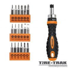 Handy TIRE TRAK gumírozott nyelű precíziós racsnis csavarhúzó készlet, 19 db-os (10735)