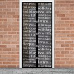 Mosható szúnyogháló függöny ajtóra, mágnessel záródó, 100 x 210 cm (mágneses szúnyogháló), feliratos mintás