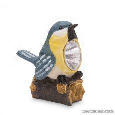 LED-es napelemes szolár világítás, állatfigura design, kék-sárga madárka