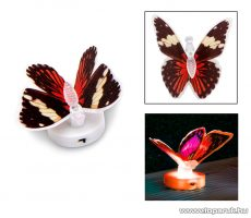 delight 11434-01 Beltéri elemes LED-es világító pillangó dísz, 1 db színváltós LED-del (bordó)