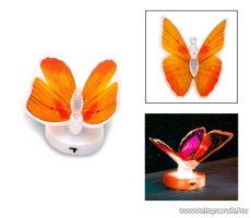 delight 11434-02 Beltéri elemes LED-es világító pillangó dísz, 1 db színváltós LED-del (narancs) - készlethiány