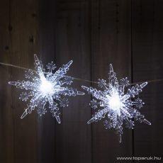 Design Decor 55241 Beltéri 8 LED-es elemes hópihe fényfüzér, hideg fehér világítással, 140 cm