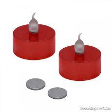Beltéri elemes LED teamécses szett (2 db), pislákoló fényjáték, piros színű mécsesek (55245/RD)