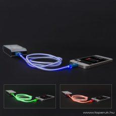 iPhone 5, 5S, 5C, 6, 6plus / iPod / iPad USB világító adatkábel és töltőkábel, 1 m, zöld színű világítással