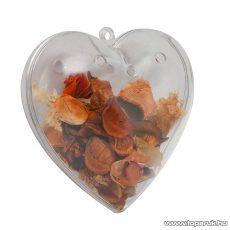 Festhető, tölthető, akasztható műanyag Karácsonyi dísz, Potpourri szív, 100 mm (55918) - készlethiány