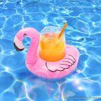 Felfújható vízen úszó pohártartó, 17,5 x 16 x 17 cm, flamingó (57288)