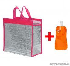 Alumínium bevonatos hűtőtáska + összehajtható kulacs, 30 x 30 cm, rózsaszín (pink) (57180PI)