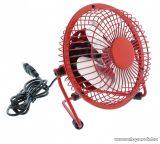 HQ FN04RE Asztali fém mini USB ventilátor, 10 cm, 2.5W, piros