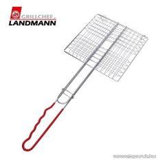 Landmann 0281 Krómozott grill hamburgersütő, piros nyéllel