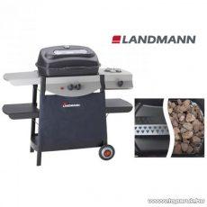 Landmann 12446 ATRACTO Lávaköves party gázgrill kocsi, szabadon állítható alumíniumozott acél égőfejjel, 7 kW + 2,5 kW-os oldalégővel (8 személyes)