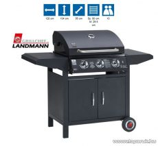 Landmann 12735 3 égős party gázgrillkocsi, alumíniumozott acél égőkkel, 3 x 3,5 kW, fekete (10 személyes) - készlethiány