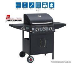 Landmann 12736 3 égős party gázgrillkocsi, rozsdamentes acél égőkkel, 3 x 3,2 kW, fekete (10 személyes)