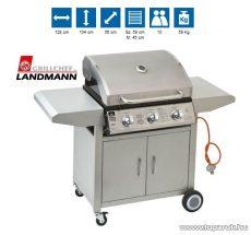 Landmann 12739 3 égős inox party gázgrillkocsi (kültéri konyha), fokozatmentesen állítható alumíniumozott acél égőfejekkel, 3 x 3,5 kW (10 személyes) - megszűnt termék: 2014. április
