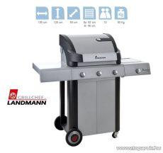 Landmann 12771 CRONOS 3 égős party gázgrillkocsi, fokozatmentesen állítható rozsdamentes acél égőfejjel, 3 x 3.5 kW + 1 x 2.0 kW-os oldalsó égőfej (10 személyes) - megszűnt termék: 2014. április