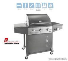 Landmann 12791 AVALON 3 égős party gázgrillkocsi, fokozatmentesen állítható rozsdamentes acél égőfejjel, 3 x 3.8 kW + 1 x 3.5 kW-os oldalsó égőfej (10 személyes) - megszűnt termék: 2014. április