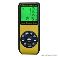 HOLDPEAK 3060B Digitális, lézeres távolságmérő, 0.05-60m, memória, terület, térfogat és háromszög mérőműszer, IP52