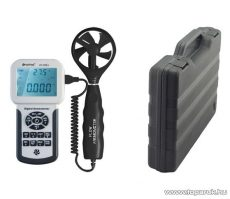 HOLDPEAK 856A Digitális szélerősség, légáramlás és hőmérsékletmérő mérőműszer kofferben, USB csatlakozóval