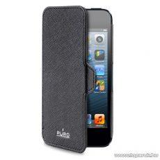 PURO iPhone SE / 5 / 5s Ultra slim ultravékony okostelefon flip bőrtok, fekete
