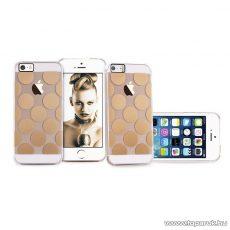 PURO iPhone SE / 5 / 5s Ultra Slim ultravékény átlátszó okostelefon tok, 0.3 mm, arany díszítéssel