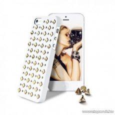 PURO iPhone SE / 5 / 5s ROCK okostelefon tok, kerek és szögletes díszkövekkel, fehér