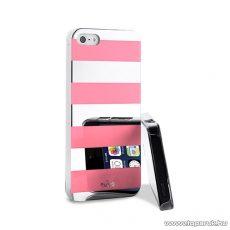PURO iPhone SE / 5 / 5s okostelefon tok, csíkos, ezüst/rózsaszín (pink)