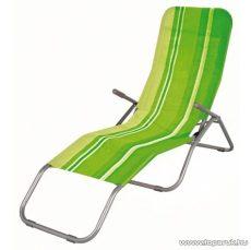 Westside Dönthető, UV-álló, fémvázas napozóágy textilén huzattal, zöld csíkos