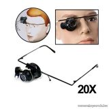 Órás nagyító szemüveg, LED világítással (20x nagyítás)