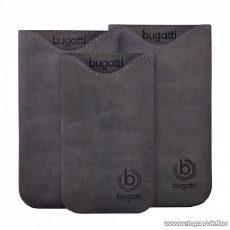 Bugatti Skinny steel M sötét sürke álló bőrmobiltelefon tok, 72x123mm (07901)